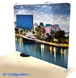 10' tension fabric trad show display with TV mount